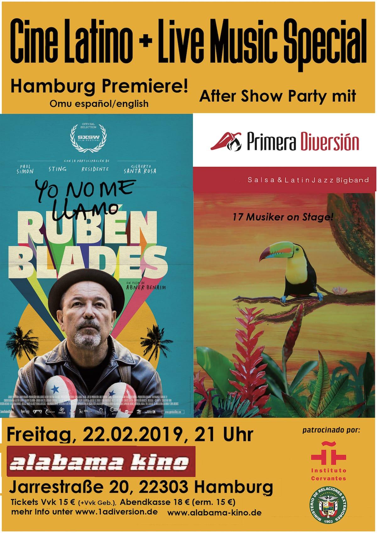 Cine Latino Yo No Me Llamo Rubén Blades + After Show Party mit PRIMERA DIVERSIÓN in Hamburg